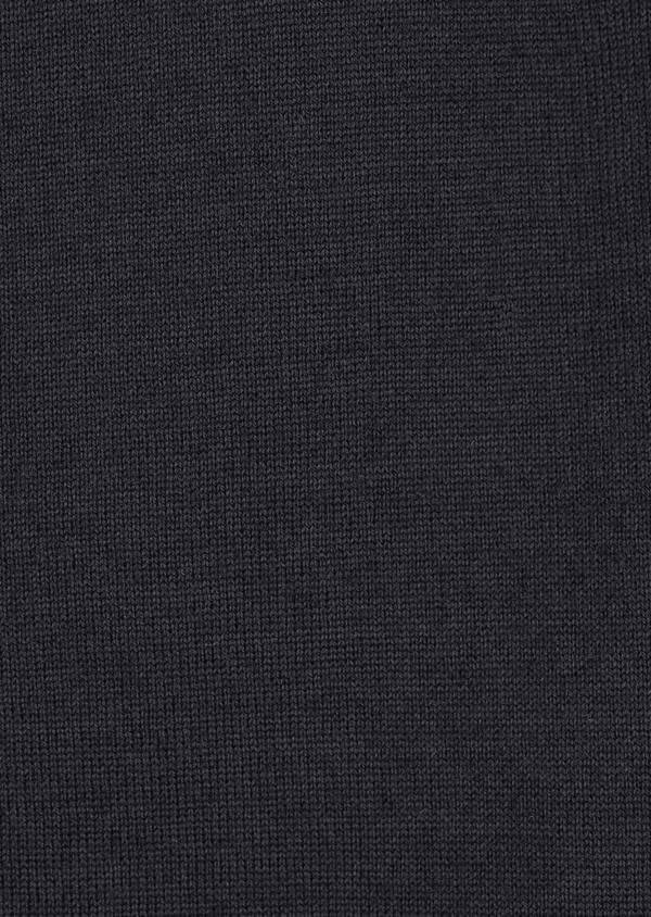 Gilet en laine Mérinos mélangée unie noire - Father and Sons 36997
