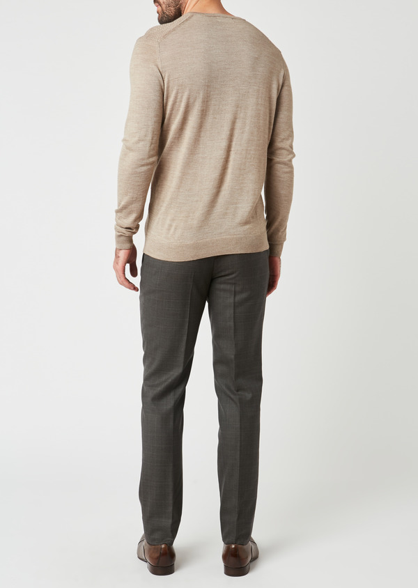 Pull en laine mérinos col V uni beige - Father and Sons 27932