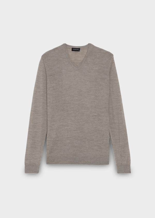 Pull en laine mérinos col V uni beige - Father and Sons 27929