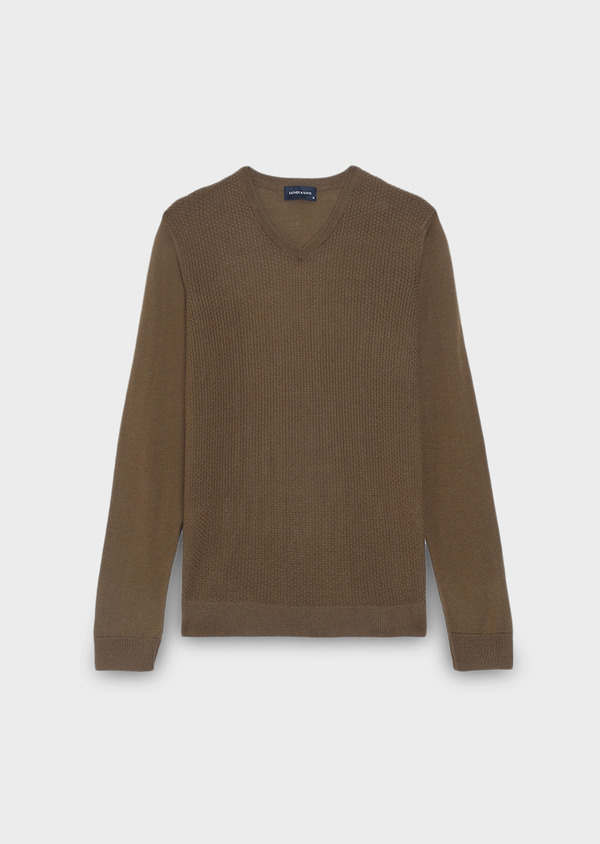 Pull en laine mérinos col V uni camel - Father and Sons 27935