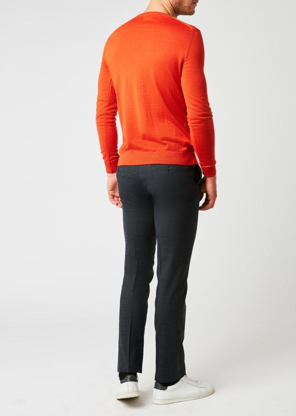 Pull en laine mérinos col V uni orange - Father and Sons 26864