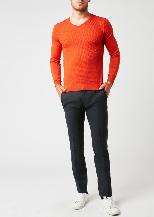 Pull en laine mérinos col V uni orange - Father and Sons 26863