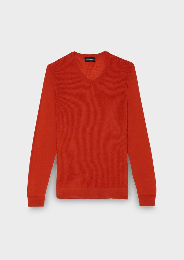 Pull en laine mérinos col V uni orange - Father and Sons 26861