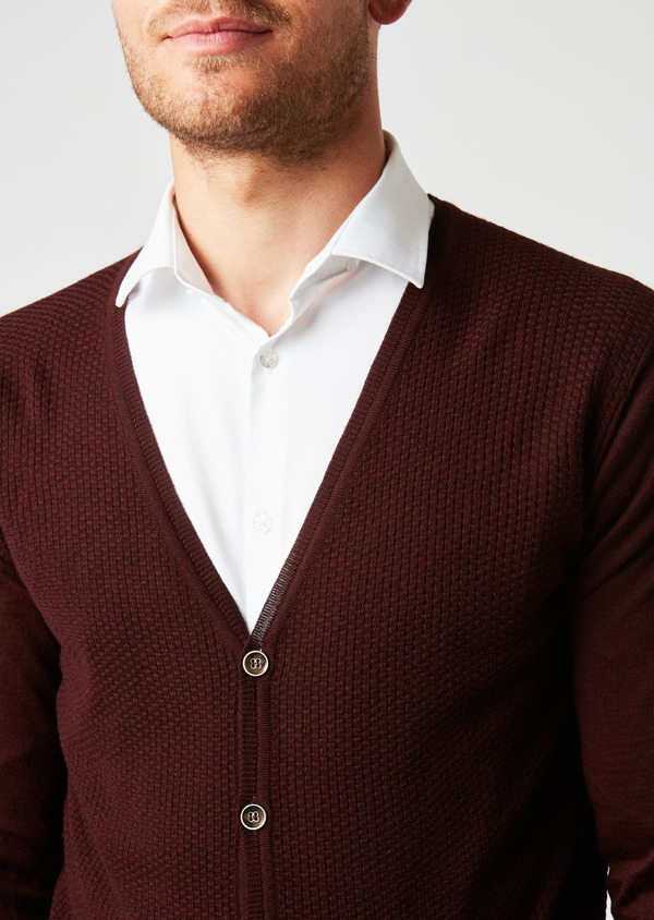 Cardigan en laine mérinos bordeaux à motifs fantaisie - Father and Sons 26871