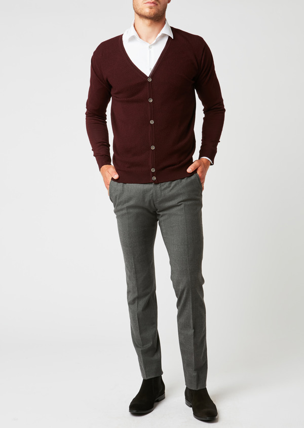 Cardigan en laine mérinos bordeaux à motifs fantaisie - Father and Sons 26869