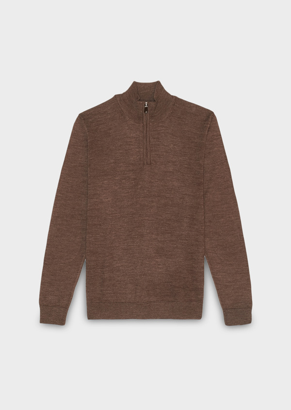 Pull en laine mérinos col montant zippé beige foncé - Father and Sons 30793
