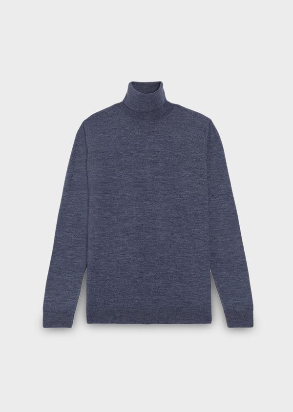 Pull en laine mérinos col roulé uni bleu - Father and Sons 27977