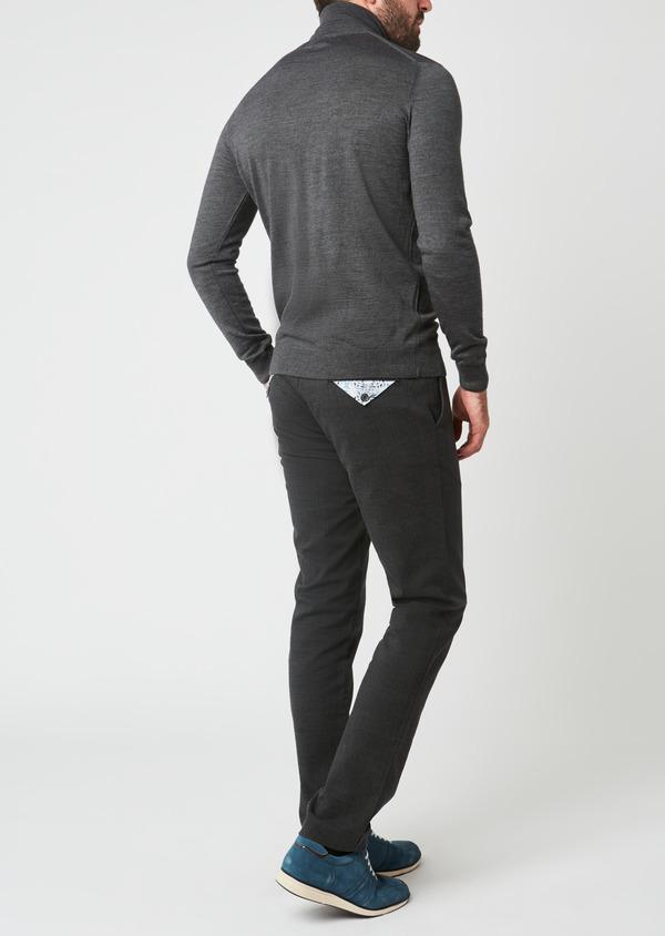 Pull en laine mérinos col roulé uni gris moyen - Father and Sons 27968