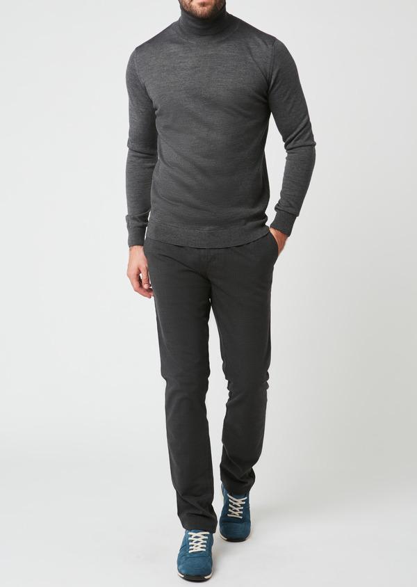 Pull en laine mérinos col roulé uni gris moyen - Father and Sons 27967