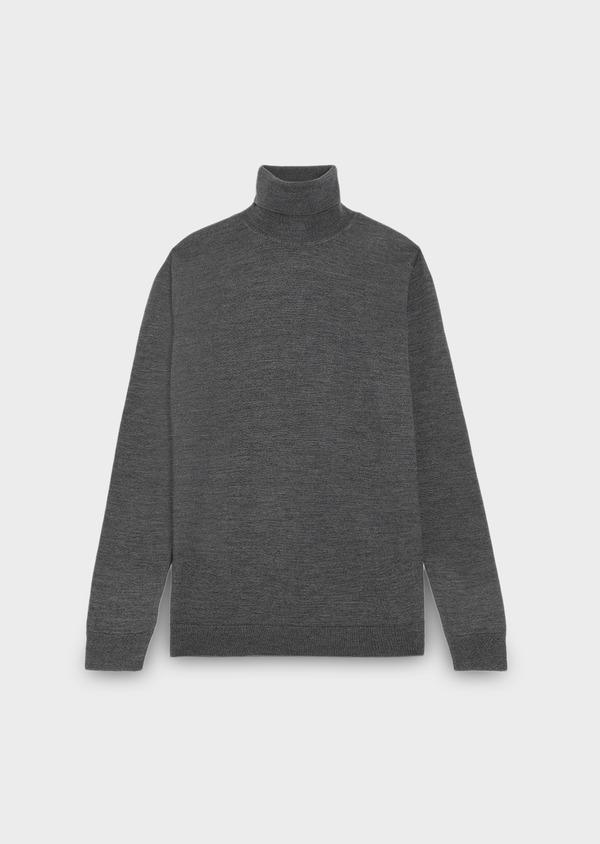 Pull en laine mérinos col roulé uni gris moyen - Father and Sons 27965