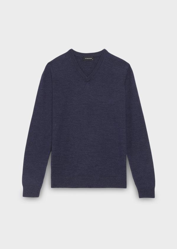 Pull en laine mérinos col V uni bleu indigo - Father and Sons 27915