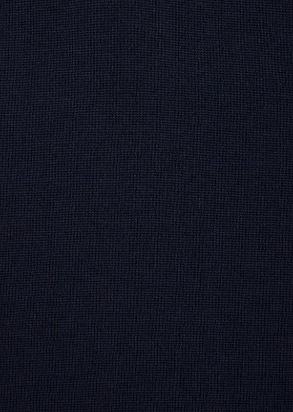 Pull en laine Mérinos mélangée col polo uni bleu marine - Father and Sons 36094