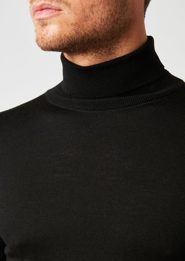 Pull en laine mérinos col roulé uni noir - Father and Sons 26884
