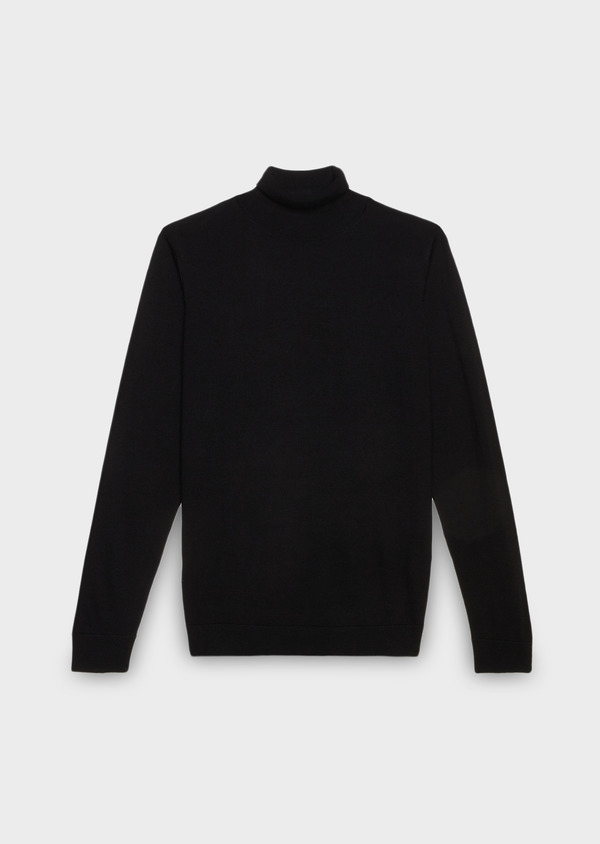 Pull en laine mérinos col roulé uni noir - Father and Sons 26880