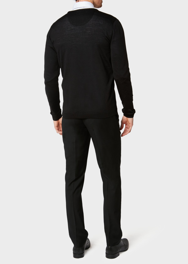 Cardigan en laine Mérinos mélangée unie noire - Father and Sons 31568