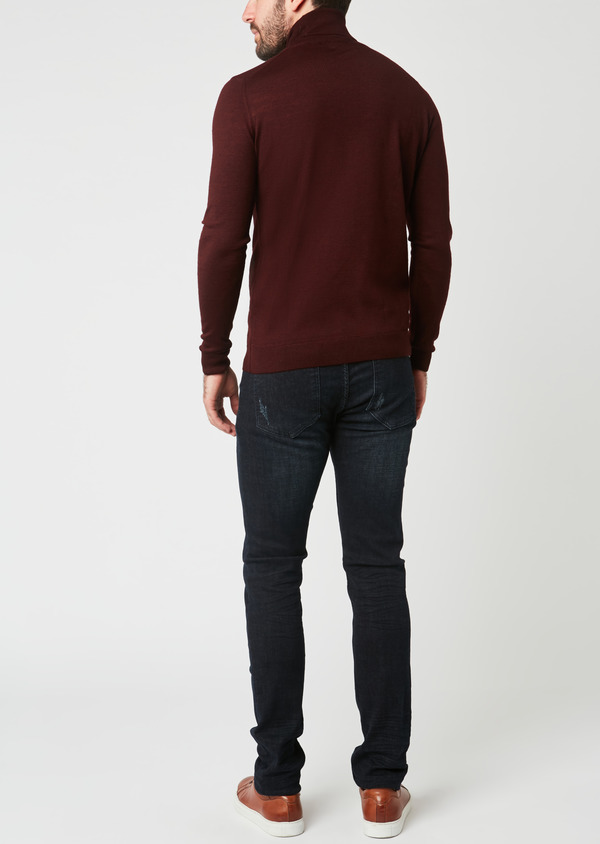 Pull en laine mérinos col roulé uni bordeaux - Father and Sons 27974