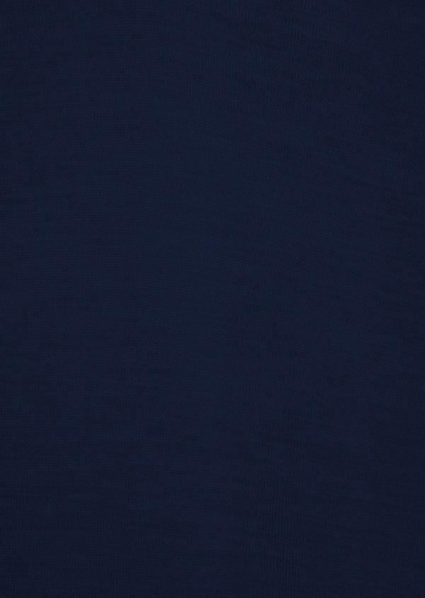 Pull en laine Mérinos mélangée col V uni bleu indigo - Father and Sons 37392