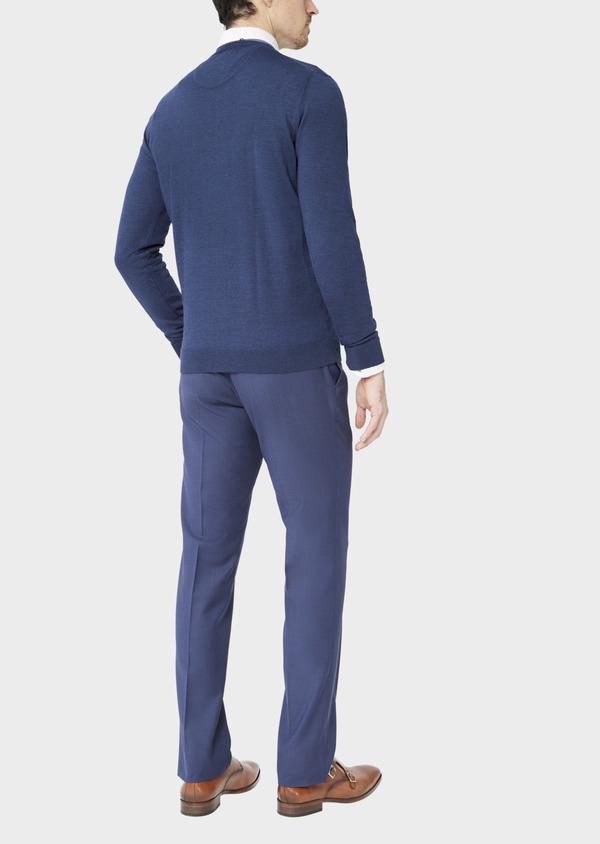 Pull en laine Mérinos mélangée col V uni bleu indigo - Father and Sons 37394