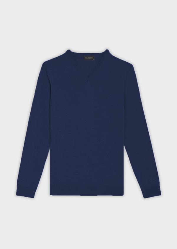 Pull en laine Mérinos mélangée col V uni bleu indigo - Father and Sons 37391