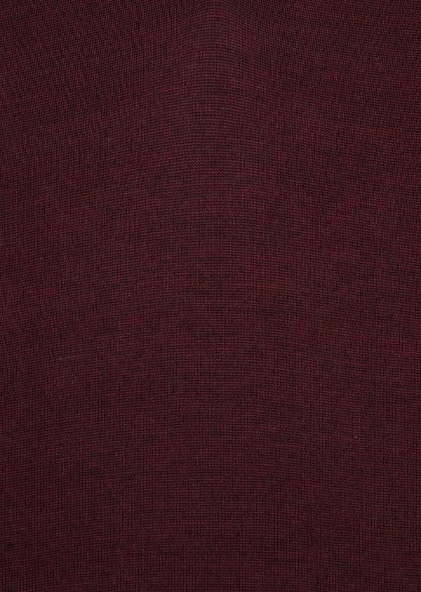 Pull en laine Mérinos mélangée col V uni bordeaux - Father and Sons 36972