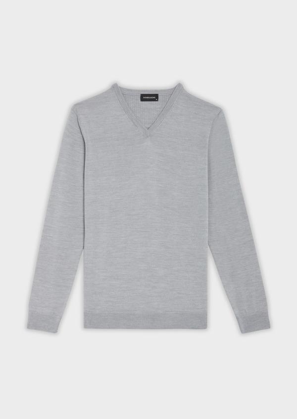 Pull en laine Mérinos mélangée col V uni gris clair - Father and Sons 36359