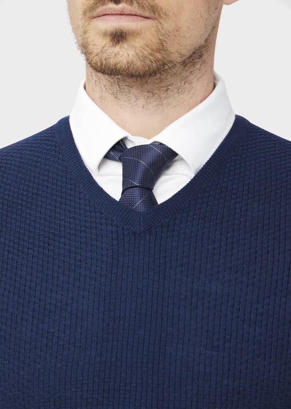 Pull en laine Mérinos mélangée col V uni bleu indigo - Father and Sons 36771