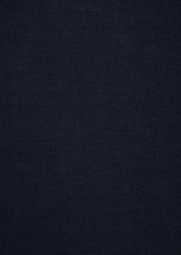 Pull en laine Mérinos mélangée col V uni bleu marine - Father and Sons 36977