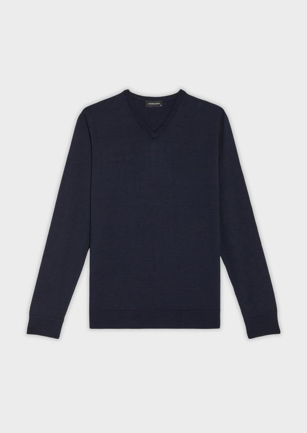 Pull en laine Mérinos mélangée col V uni bleu marine - Father and Sons 36976