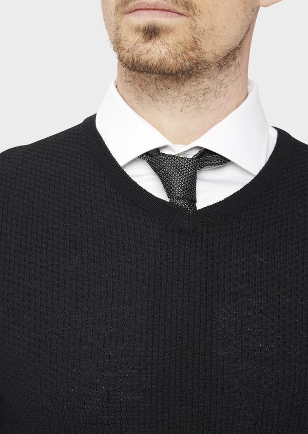 Pull en laine Mérinos mélangée col V uni noir - Father and Sons 36995