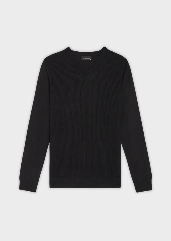 Pull en laine Mérinos mélangée col V uni noir - Father and Sons 36991