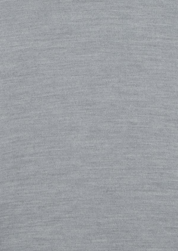 Pull en laine Mérinos mélangée col zippé uni gris clair - Father and Sons 35363