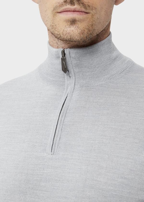 Pull en laine Mérinos mélangée col zippé uni gris clair - Father and Sons 35366