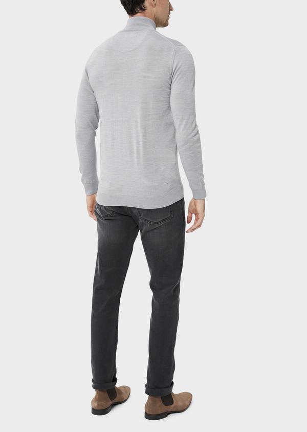 Pull en laine Mérinos mélangée col zippé uni gris clair - Father and Sons 35365