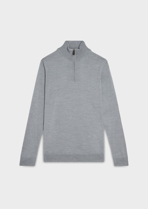 Pull en laine Mérinos mélangée col zippé uni gris clair - Father and Sons 35362