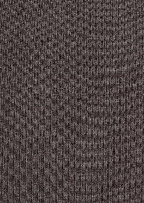 Pull en laine Mérinos mélangée col zippé uni taupe - Father and Sons 36375