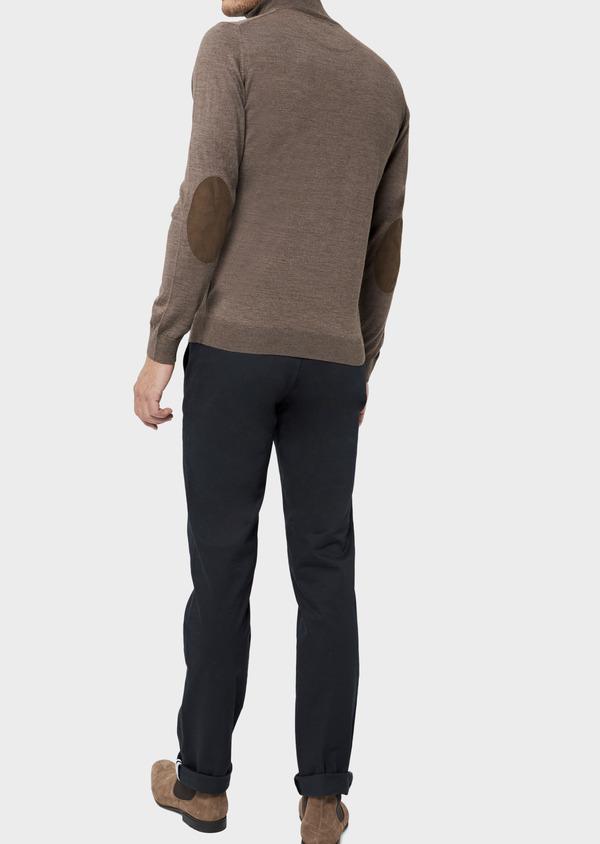 Pull en laine Mérinos mélangée col zippé uni taupe - Father and Sons 36377