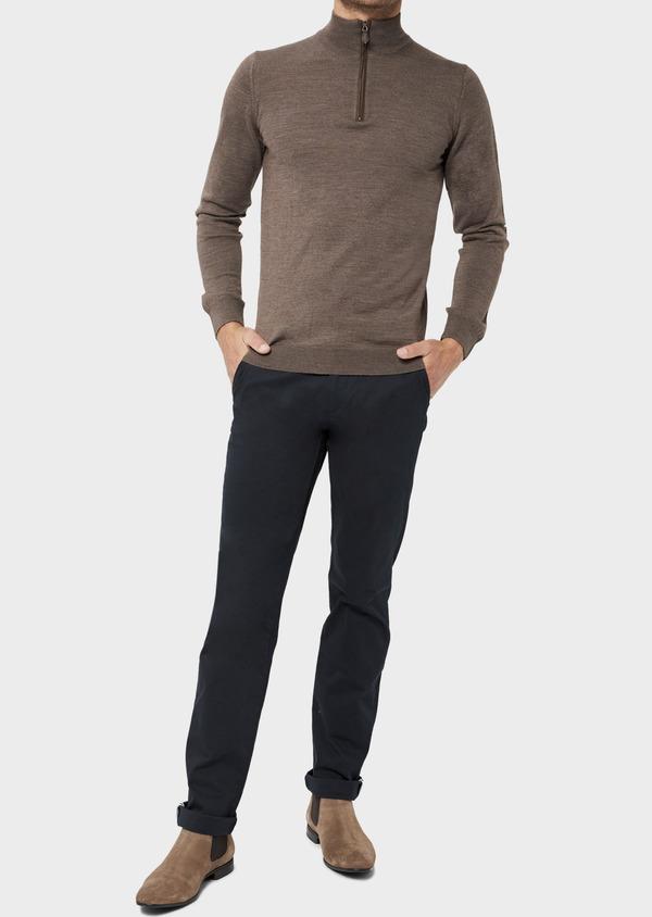 Pull en laine Mérinos mélangée col zippé uni taupe - Father and Sons 36376