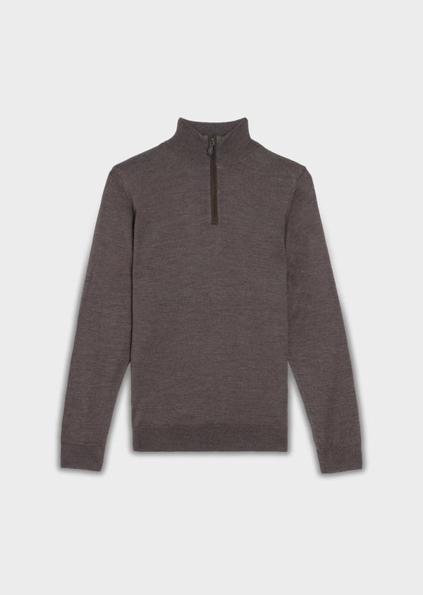 Pull en laine Mérinos mélangée col zippé uni taupe - Father and Sons 36374