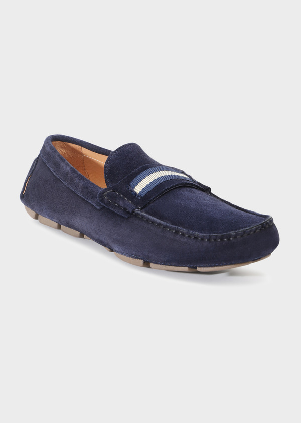 Mocassins en daim bleu indigo - Father and Sons 32275
