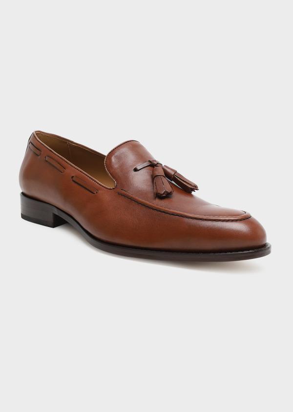 Mocassin à pampilles en cuir lisse marron - Father and Sons 32233