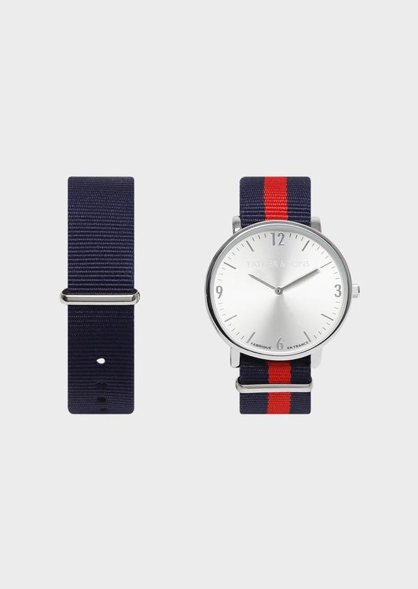 Montre bracelet nato interchangeable rouge et bleu marine - Father and Sons 30938