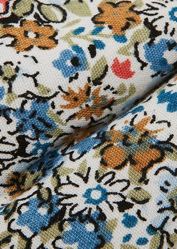 Noeud Papillon en popeline de coton camel à motif fleuri - Father and Sons 27378
