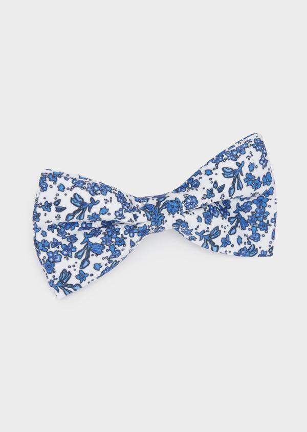 Noeud-papillon blanc à motif fleuri bleu chambray - Father and Sons 38243