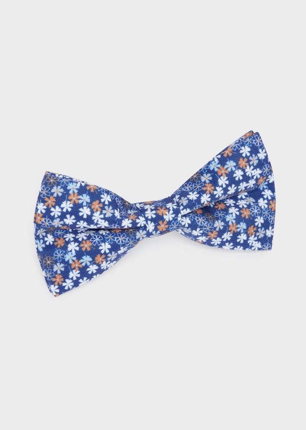 Noeud-papillon bleu indigo à motif fleuri bleu et orange - Father and Sons 38235
