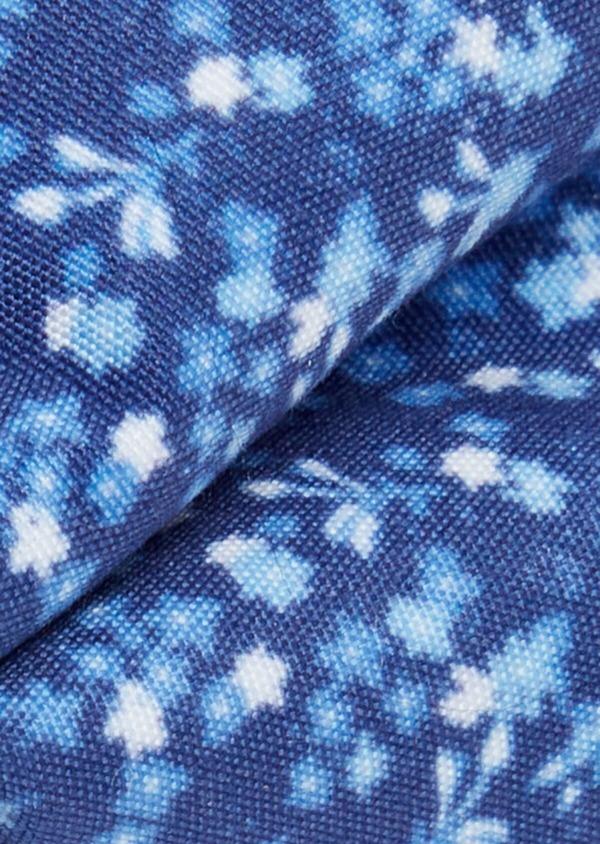 Noeud-papillon bleu indigo à motif fleuri bleu et blanc - Father and Sons 38240