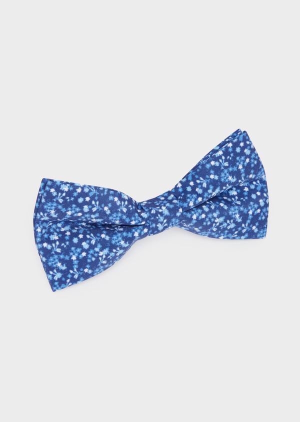 Noeud-papillon bleu indigo à motif fleuri bleu et blanc - Father and Sons 38239