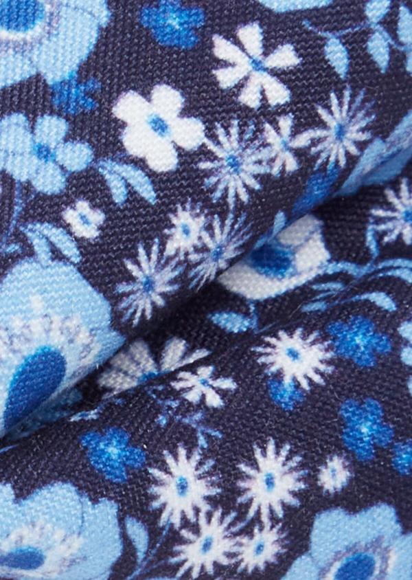 Noeud-papillon bleu marine à motif fleuri bleu et blanc - Father and Sons 38242
