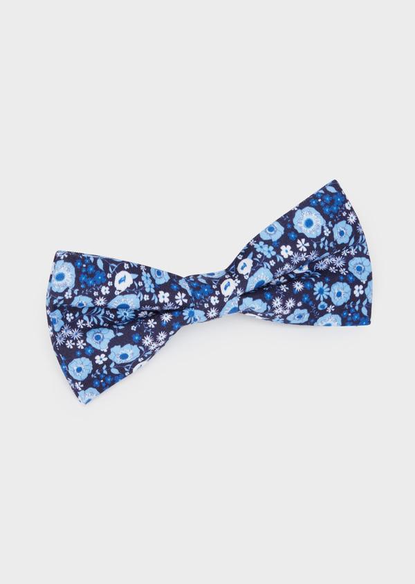 Noeud-papillon bleu marine à motif fleuri bleu et blanc - Father and Sons 38241