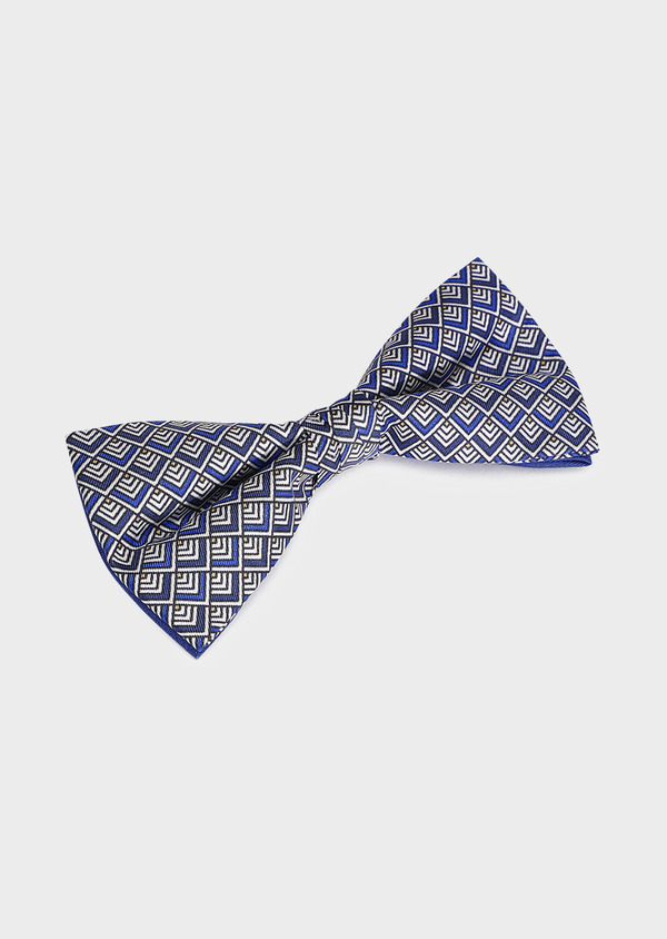 Noeud-papillon en soie bleue à motif fantaisie marron - Father and Sons 33232