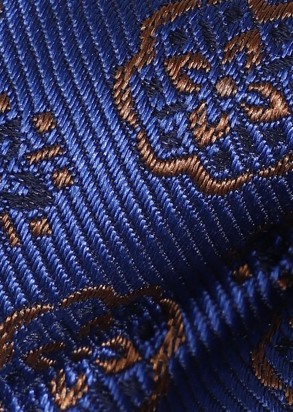 Noeud-papillon en soie bleu indigo à motif fleuri marron - Father and Sons 33247